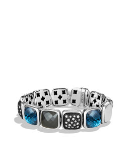 David Yurman Chiclet Bracelet, London Blue Topaz, 1 Row