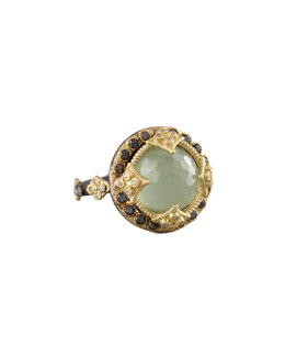 Armenta Green Turquoise & Black Diamond Ring