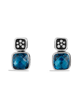 David Yurman Chiclet Earrings, London Blue