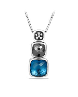 "David Yurman Chiclet Necklace, London Blue Topaz, 18""L, Small"