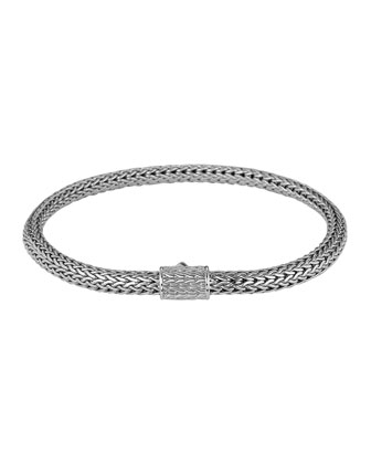 Classic Chain 5mm Extra-Small Braided Silver Bracelet