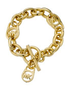 Logo-Lock Charm Bracelet, Gold Tone