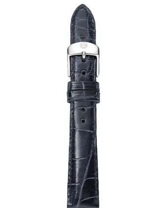 Deco Diamond Dial Two-Tone Watch Head & 18mm Navy Alligator Strap