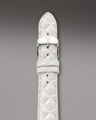 18mm Quilted Leather Strap, White