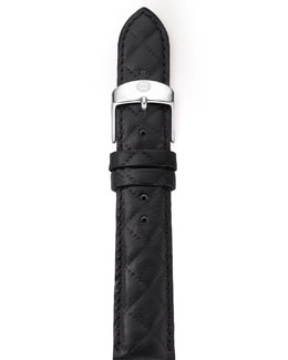 Michele 16mm Quilted Leather Strap, Black