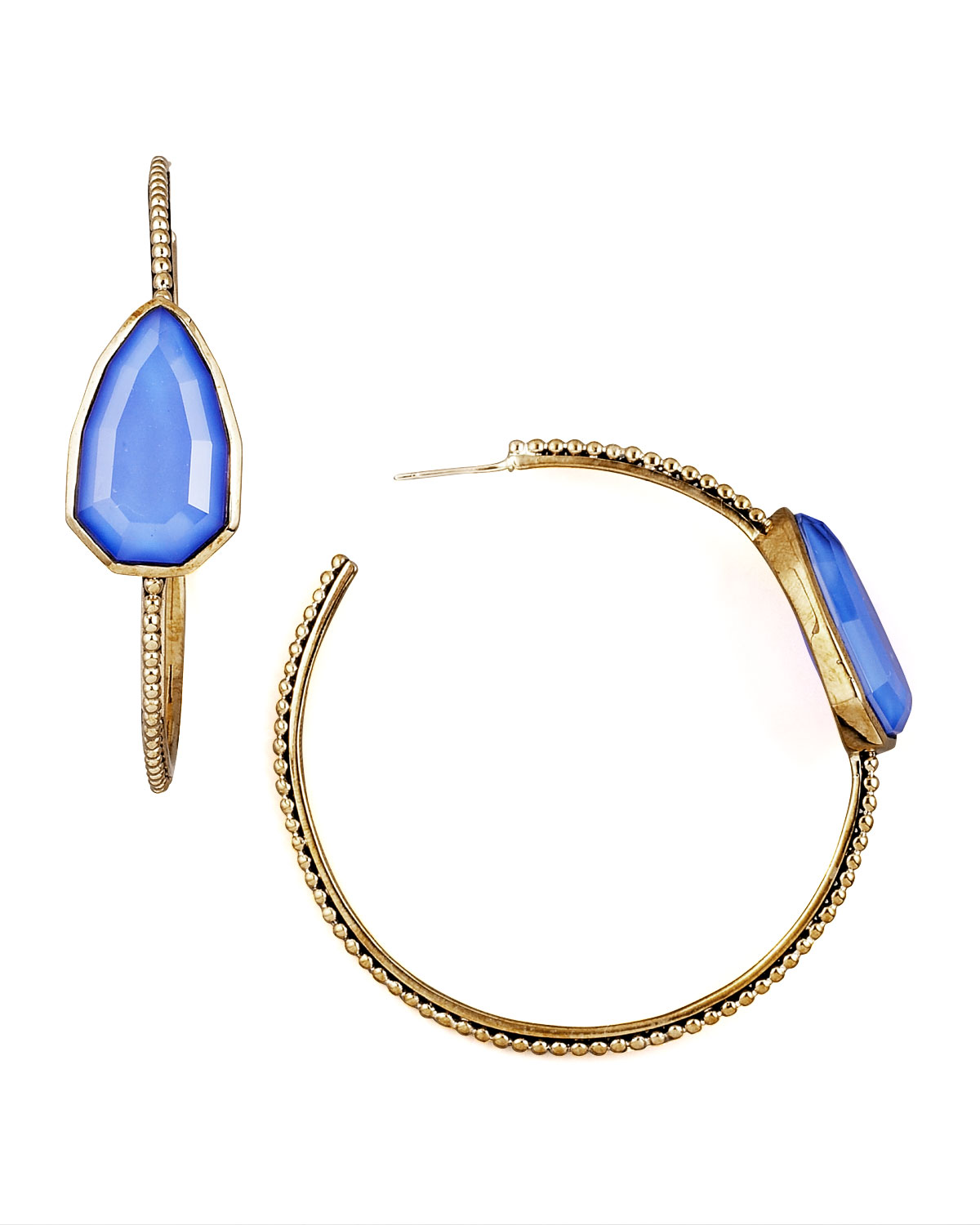 7498a7c5e Blue Agate Cathedral Hoop Earrings Stephen Dweck Blue on PopScreen