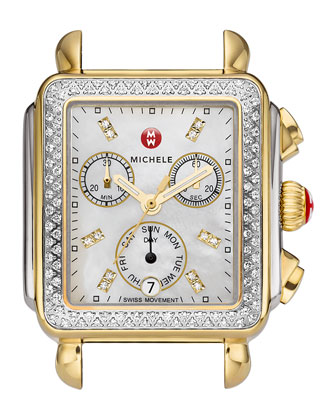 Deco Diamond Dial Two-Tone Watch Head & 18mm White Patent Strap