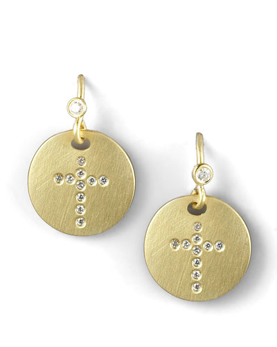 Roberto Coin Pave Diamond Cross Medallion Earrings