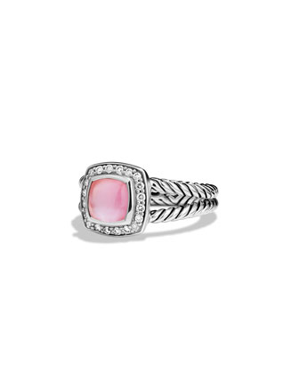Petite Albion Ring with Rose Quartz and Diamonds