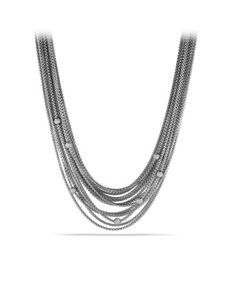 Sixteen-Row Chain Necklace with Diamond Beads