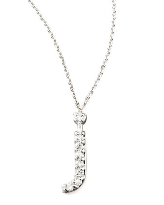 Diamond Letter Necklace, J