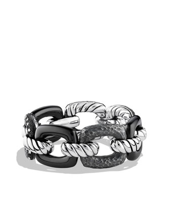 Midnight M??lange Cushion Link Bracelet with Diamonds