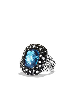 David Yurman Moonlight Ice Ring, Blue Topaz