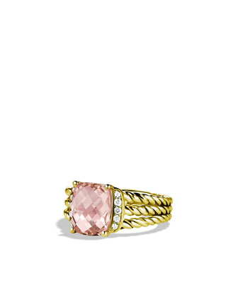 Petite Wheaton Ring with Morganite and Diamonds in Gold