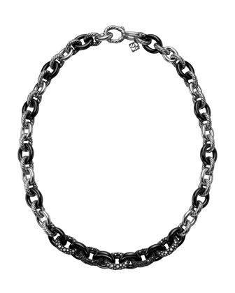 Midnight M�ange Oval Link Necklace with Diamonds
