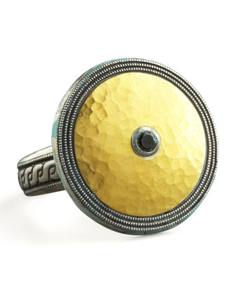 Gold & Spinel Shield Ring