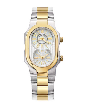 Small Two-Tone Mother-of-Pearl Diamond Watch Head & Two-Tone Gold Plated ...