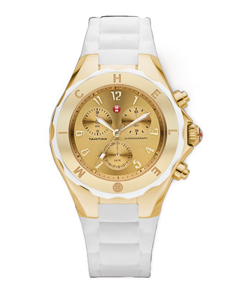 Tahitian Large Jellybean Chronograph, White/Golden