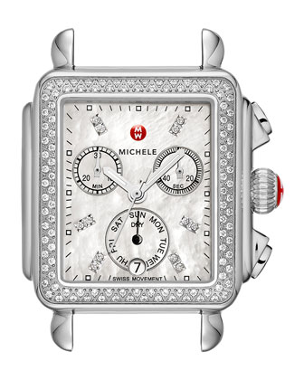Deco Diamond Watch Head & 18mm White Quilted Leather Strap