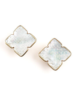 Stephen Dweck Etched Mother-of-Pearl Clip-on Earrings