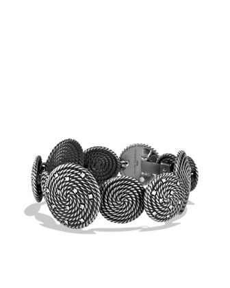 Cable Coil Bracelet with Diamonds