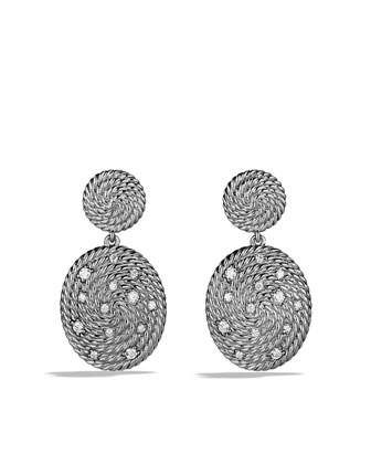 Cable Coil Double-Drop Earrings with Diamonds