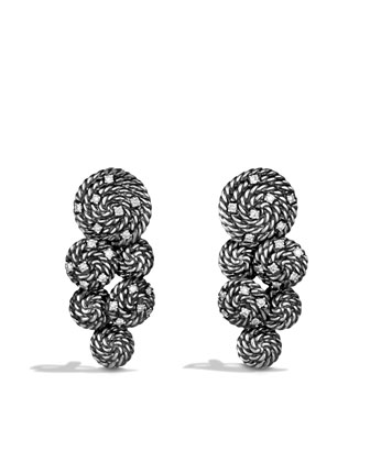 Cable Coil Cluster Earrings with Diamonds