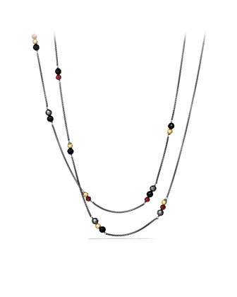 Bead Necklace with Black Onyx, Hematine, and Gold