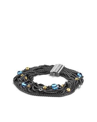 Sixteen-Row Chain Bracelet with London Blue Topaz, Hematine, and Gold