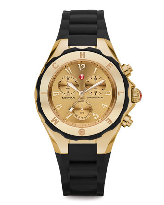 Gold Tahitian Large Jelly Bean Chronograph, Black