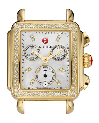 Deco Day Diamond Watch Head, Yellow Gold