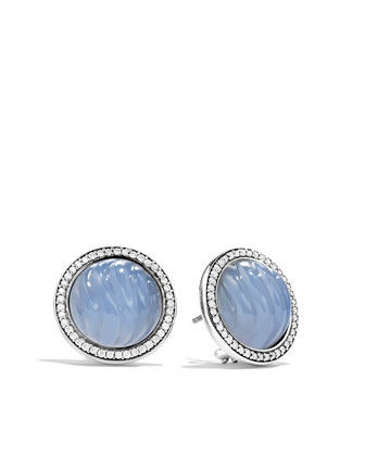 Carved Cable Earrings with Blue Chalcedony