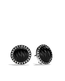 David Yurman Carved Cable Button Earrings, Black Onyx