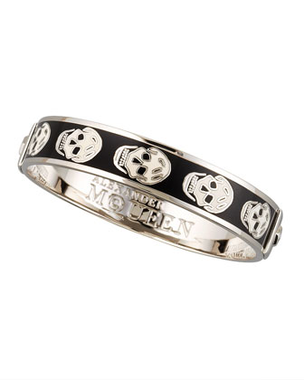 Small Enamel Skull Bangle, Black/White