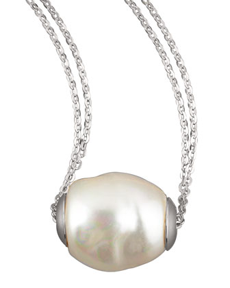 Baroque Pearl Pendant Necklace, White