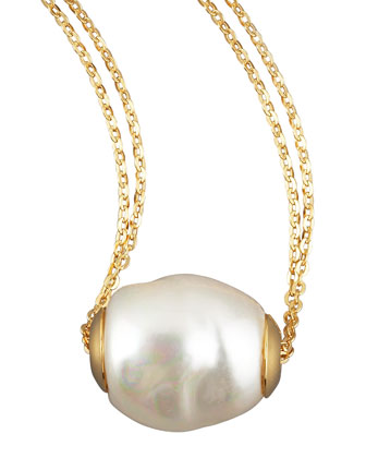Gold Pearl Pendant Necklace, White