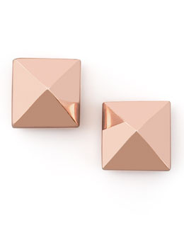 Eddie Borgo Pyramid Stud Earrings, Rose Gold