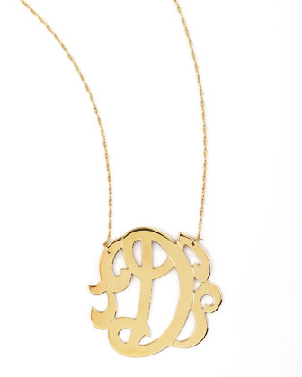 Swirly Initial Necklace, D