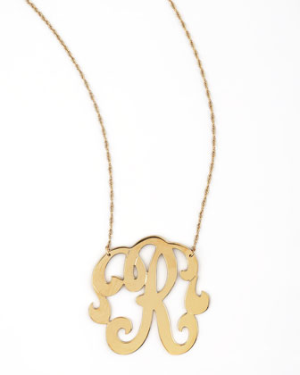Swirly Initial Necklace, R