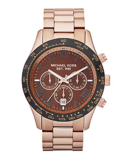 Michael Kors Layton Chronograph Watch, Rose Golden/Black