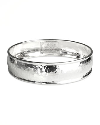 Wide Hammered Silver Bangle