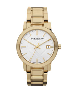 Burberry Check Sunray Watch, Golden