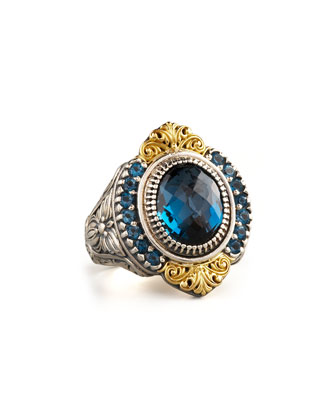 Pave London Blue Topaz Ring