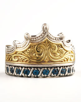 Konstantino London Blue Topaz Crown Ring