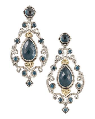 London Blue Topaz Chandelier Post Back Earrings