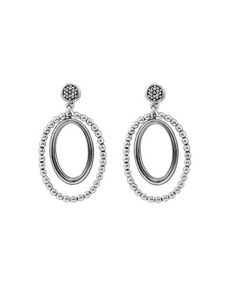 Caviar Oval Twist Earrings