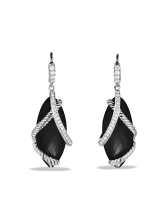 Cable Wrap Drop Earrings with Black Onyx and Diamonds