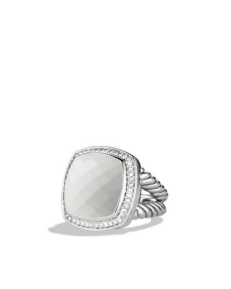 Albion Ring with White Agate and Diamonds