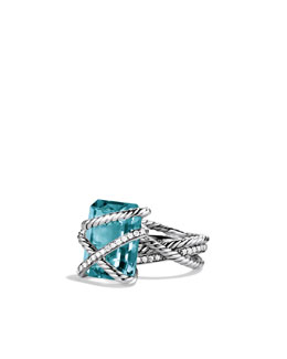 David Yurman Cable Wrap Ring, Blue Topaz, 16x12mm