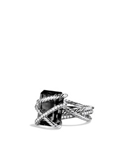 David Yurman Cable Wrap Ring, Black Onyx,16x12mm
